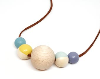 Nautical jewellery, modern wood necklace, gift for her, handmade gift, seaside necklace, chunky necklace, wood beads, valentines necklace