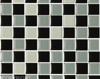 Pack of 10 Black and grey mosaic tile stickers transfers, with added gloss affect, just peel and stick, bathroom kitchen