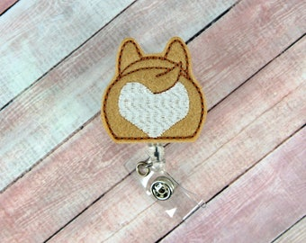 Corgi Badge Reel - Dog ID Clip - Nurse Badge Reel- Teacher Badge Reel - Retractable ID Badge Holder - Badge Pull