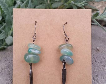 Feather & Green stone Earrings