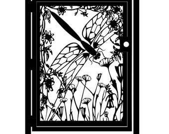 Floral Artistic Metal Gate - Security Gate - Dragonfly Decorative Steel Gate - Flower Art Wall Panel - Driveway Gate - Outdoor Steel Art