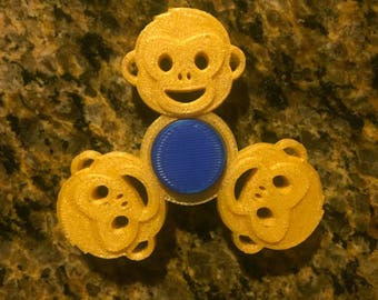 Happy Monkey Fidget Spinner; 3D Printed; Fun Kids Novelty Toy; Focus Enhancing; Alleviate Anxiety and Reduce Stress; Bar Hand Spinner