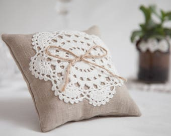Lace element wedding ring bearer pillow, Wedding Ring Pillow, Lace Ring Pillow, Rustic Wedding, Ring Cushion, Country wedding