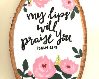 Painted Wood Round Bible Verse