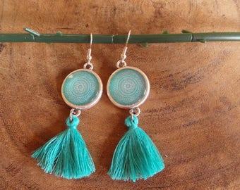 Cabochon Mandala Mint earring