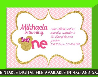 Minnie Mouse Gold Invitation. Minnie Mouse Birthday Invitation. Minnie Mouse Invitation