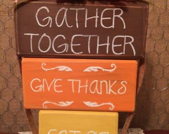 Thanksgiving Stacked Blocks Sign