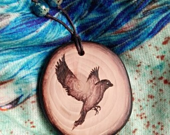 Rustic style Bird lover wooden necklace gift for her - wood burning rustic jewelry Bird - handmade wood pyrography necklace nature art