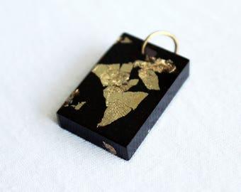 Black resin gold leaf pendant