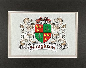 "Naughton Irish Coat of Arms Print - Frameable 9"" x 12"""