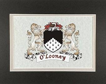 "O'Looney Irish Coat of Arms Print - Frameable 9"" x 12"""