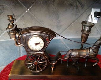 Antique Horse and Carriage Lamp and Clock