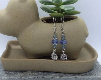 Light Blue Dangle Earrings (Pierced or Clip-On)