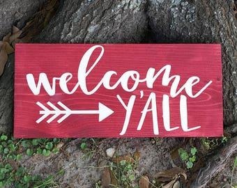 welcome y'all, wood sign, painted wood sign, welcome sign, wooden decor, welcome