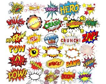 INSTANT DOWNLOAD - Superheroes Pop Art Text, Bubbles Clipart, Comic Clipart, Superhero Party Theme, Superhero Clipart, Digital Comic Text