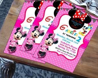 Printable Minnie Mouse Birthday Invitation - Pink, Gray and White Invitation - Minnie Invitation - Disney Invitation