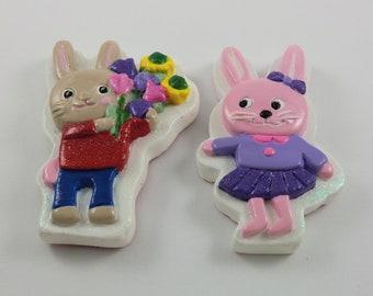 Set of 2, Boy and Girl Rabbit Magnet