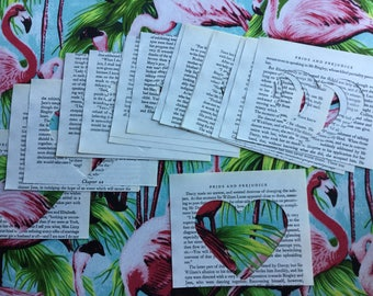 20 x Pride and Prejudice heart cut outs book ephemera, smash booking, scrapbooking, junk journal, card making