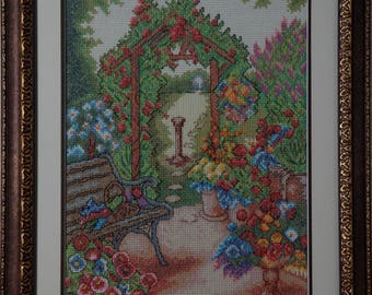 Framed Needle Work Wall Decor Picture  43x55 cm  Garden