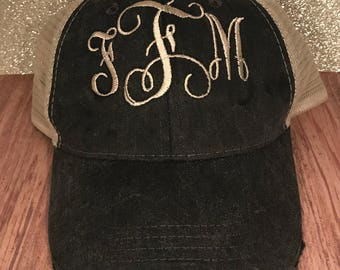Distressed monogram ponytail trucker hat, pony tail hats, embroidered hat, trucker hat, hat, baseball cap, women's hat, messy bun hat