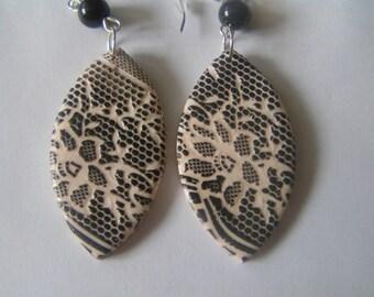 Lace pattern earrings in polymer clay