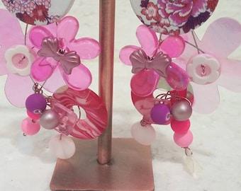 Pink OOAK earrings