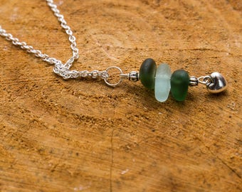 Green and aqua seaglass charm necklace