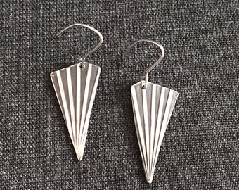Striking Black and Silver Patterened Sterling Silver Earrings