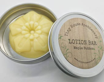 Maple butter lotion, Lotion bars, gift for her, gift for him, solid lotion, maple lotion gift idea, dry skin, gift under 10, Valentines gift