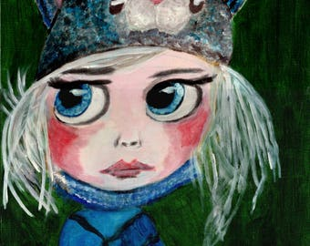 """A3 """"Print"""" of Acrylic Painting Little Person """"Geraldine"""" by Treborre.  Take Her Home Today"""