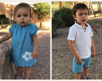 Matching Sibling Outfits - Brother Sister - Dress (or shirt) and Shorts - Outfits for Pictures - 12 months to 8 years