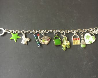 Silver and green charm bracelet