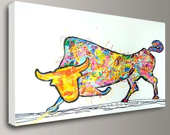 Bull Painting, Bull art, Bull acrylic, Handmade painting, Rainbow Painting, Art on canvas, Bull artwork, Original art, Extra large, Painting