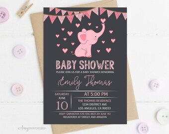 Elephant Baby Shower Invitation, Baby Shower Invitation, Pink Elephant Invite, Baby Girl, PERSONALIZED, Digital file, #A24