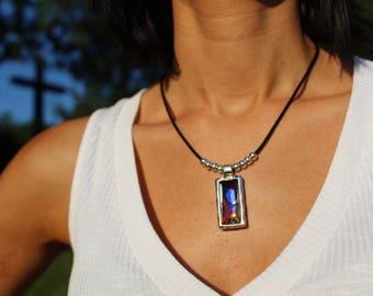 Swarovski Necklace, Beaded Necklace, Silver Necklace, Uno de 50 Style, Leather Necklace, Crystal Necklace, Swarovski Pendant