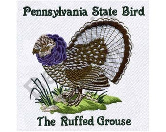 bird machine embroidery design ruffed grouse pennsylvania state bird