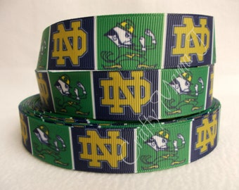 "Notre Dame Fighting Irish 7/8"" Grosgrain Ribbon by the yard. Choose Between 3/5/10 yards. College University"