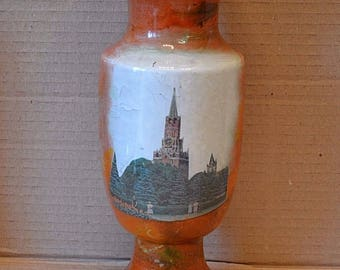 old vase with the Moscow Kremlin. the USSR