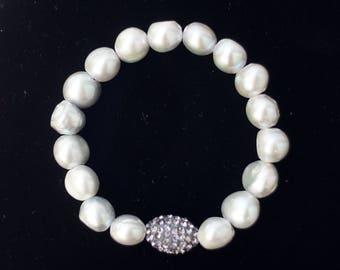 Lustrous Fresh Water Pearl Bracelet, Silver Pearl With Sterling Silver Pave Bracelet, Pearl jewelry