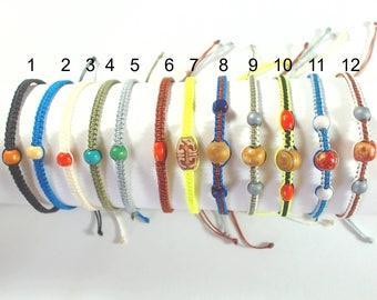Bracelet for men macrame and wooden bead