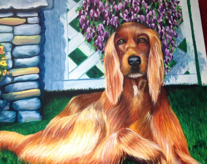 Irish Setter Kicking Back in My Backyard, Oil Painting of Irish Setter 24x24x1.5 Gallery Wrapped, Oil Painting Irish Setter, Oil Painting
