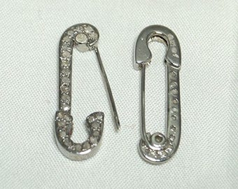 Fashion Statement 1.80cts pave diamond Oxidized Sterling Silver Safety Pin Earrings - 19061701