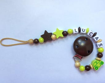 Pacifier clip personalized with name Green Brown wood beads