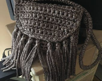 Handmade Boho Bag, Fringed, Casual, Crocheted Funky Handbag