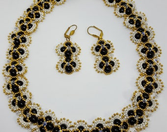 Black white and gold handmade beaded earring and necklace set swarovski beads One of a kind!