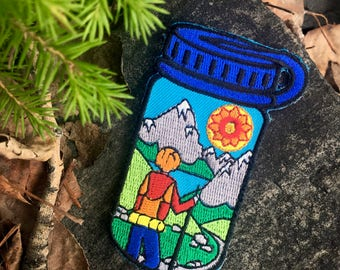 Hiker Water Bottle – Embroidered Patch – Iron On