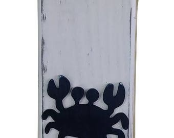 Rustic Nautical Wood Crab Column Lamp White and Navy
