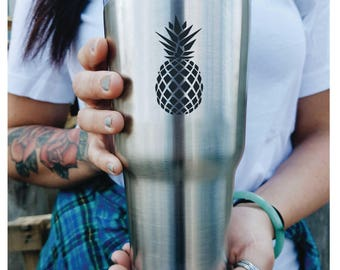 Pineapple Print/Gift Idea/Hot Cold Cup/ Monogram/ Tumbler with lid/ PERSONALIZE/ etched/ Like a Yeti/30 ounce tumbler/ Yeti Style/ engrave