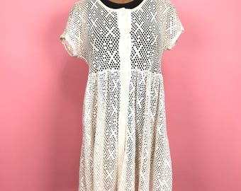 White 100% cotton mesh 90's babydoll dress M