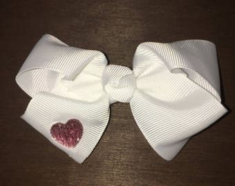 White Hairbow with Pink Rhinestone Heart